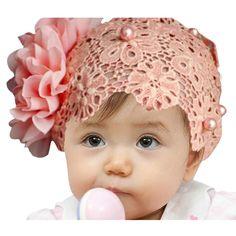 Towallmark(TM)1PC Lovely Rhinestone Unusual Angel Baby Pearl Flowers Hairband Headbands (Pink Pearl)