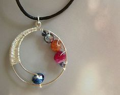 Yin Yang Necklace - round necklace, fine silver wire wrapped, hippie boho, bohemian, navy blue glass, iolite, hot pink, orange sunstone