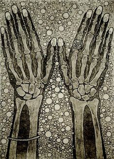 "Tokoha Matsuda. Under the Surface.  The Hands, 2009. Etching, aquatint, 14 x 10"". via Thinx"