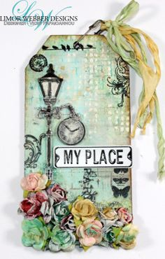 Mixed media tag by Vicky Papaioannou Step by step video also available! https://www.youtube.com/watch?v=RwZCZxpXcaU