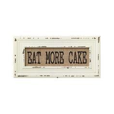 Vintage Bistro Burlap Printed Framed Wall Decor for Kitchen Dining Restaurant (Eat More Cake): Posters & Prints