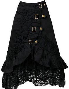 Women's Fashion Black Skirt Steampunk featuring buckles and brass, with Lace Waistline Empire Material Lace Dresses Length: Knee-Length