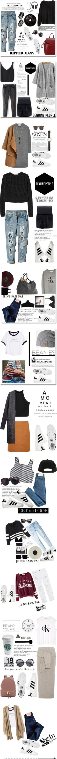 Adidas superstar style by madamitsa on Polyvore featuring Michael Kors, Loeffler Randall, H&M, adidas, rippedjeans, Genuine_People, Acne Studios, Illesteva, Alexis Bittar and Pieces