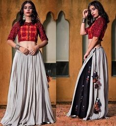 New Chaniya Choli & Blouse Designs for Navratri 2019 - LooksGud.in Grey Striped Layered chaniya Choli for Navratri Choli Blouse Design, Choli Designs, Lehenga Designs, Blouse Designs, Garba Dress, Navratri Dress, Lehnga Dress, Chaniya Choli For Navratri, Dress Indian Style