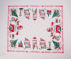 T'Was The Night Before Christmas Vintage Repro Tablecloth