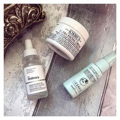 • The three musketeers 💯⚔️ - My go to hydration after cleansing •  1. @lizearlebeautyco Instant boost Skin Tonic Spritzer 💦💦 2. @deciem Hyaluronic Acid ✨ 3. @kiehlsuk Ultra Facial cream 💫