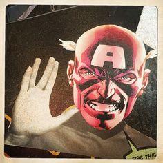 Live long and prosper #captainamerica #spock #startrek #marvel #avengers #wheatpaste #graffiti #collage #wallart