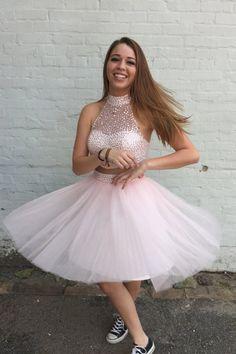 2016 licht Rosa 2 Stück Short Prom Cocktailkleider Knielangen High Neck Junioren Cocktailparty-kleider Robe De Cocktail //Price: $US $129.90 & FREE Shipping // #clknetwork