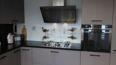 Keukenachterwand Grutto's op glas. Exclusief bij Visualls.nl