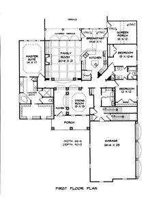First Floor Plan of Craftsman   House Plan 58182