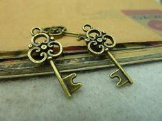 Anhänger Schlüssel - 25pcs 10x25mm Antique Bronze schöne Mini-Schlüssel - ein Designerstück von chengxun bei DaWanda