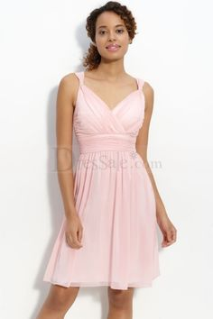 Captivating Pink A-line Chiffon Dress with Elaborate Pleats