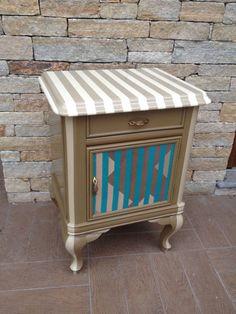 artistic night table , comodino artistico multicolor, multicolor night table, insersione tessuto sulla anta, insert of fabric in the door.