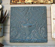 Antique Ceiling Tin Tile. Illinois architectural salvage. Vintage pressed tin. Dresden blue metal wall art.  Blue Decor. FRAMED metal tile.