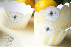 Party printables to make a sweet bee party! Sunflower and bee cupcake topper printables, banner printables, invitation or card printables, seed packet printables, striped straw toppers, bee party drink label printables, and straw toppers!