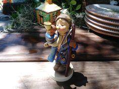 Goebel Hummel Figurine, Hear Ye Hear Ye, Town Crier blowing horn, Stylized Bee Mark, West Germany https://etsy.me/2EUybl3 #goebelfigure #hummelfigure #collectiblefigurine #goebelhummel #westgermanyhummel #goebelcollectible #towncrier #littleboyblue