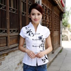 Attractive+Open+Neck+Oriental+Style+White+Shirt+-+Chinese+Shirts+&+Blouses+-+Women