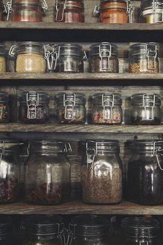 Uniform jars make storage of dry goods a beautiful design element ...