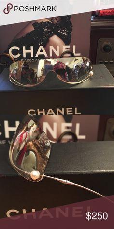 7bc07688369 Chanel Rimless Pearl Mirrored Sunglasses Chanel Rimless Pearl Mirrored Sunglasses  Chanel Accessories Sunglasses Chanel Sunglasses