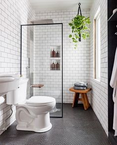 We can't get enough of this black and white industrial bathroom transformation b. - We can't get enough of this black and white industrial bathroom transformation by - Bathroom Renos, Basement Bathroom, Bathroom Renovations, Dyi Bathroom, Bathroom Inspo, Bathroom Cabinets, Master Bathrooms, Budget Bathroom, Bathrooms Decor