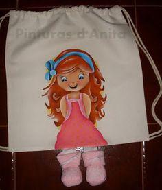 Pinturas d'anita - pintura em tecido: babete e mochila com perninhas e menina (nº203)