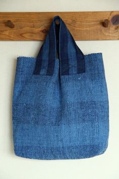 indigo . handwoven . fabric tote bag