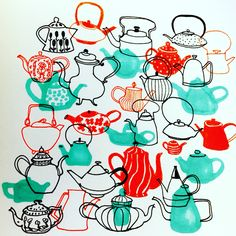 Tea and Coffee time. #illustration by Marie Åhfeldt, Mås Illustra. www.masillustra.se #tea #coffee #drawing #masillustra #teapot