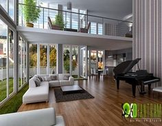 Always wanted an all glass house 3d Interior Design, Commercial Interior Design, Commercial Interiors, Interior Design Living Room, Room Interior, 3d Home, Glass House, Design Firms, Home Living Room