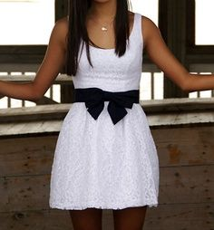 classic white dress with a navy #bow