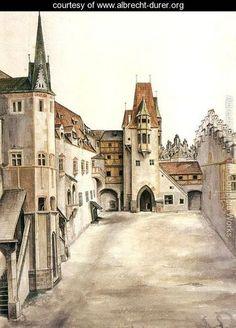 Courtyard of the Former Castle in Innsbruck without Clouds - Albrecht Durer - www.albrecht-durer.org