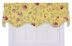 "Ellis Curtain Coventry Medium Scale Floral Lined Scallop Valance, Yellow by Ellis Curtain. $21.77. Multi colored medium scale floral print pattern on solid colored ground featuring a range of shades and colors that coordinate easily with a variety of solids, checks, plaids, and stripes.. Valance is constructed with a 3"" rod pocket and 2"" header; width is measured overall 70""; length is measured overall 16"" from header top (ruffle above the rod pocket) to botto..."