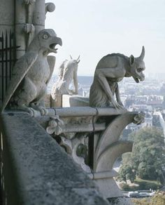 "Gargoyles* sit atop Notre Dame Cathedral in Paris, France. Photo by © Paul Almasy / Corbis  [Please keep photo credit and original link if reusing or repinning. Thanks!] *Technically, this shows a ""Grotesque"", as strictly speaking to be classified as ""Gargoyle"" it must funnel / spout water! (Or perhaps this one does so?)"