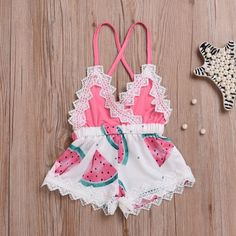 Girls' Clothing (Sizes 4 & Up) Newborn Toddler Baby Girl Romper Lace Jumpsuit Outfit Watermelon Summer Clothes Romper Outfit, Lace Romper, Lace Jumpsuit, Backless Jumpsuit, Floral Jumpsuit, Baby Girl Fashion, Kids Fashion, Fashion Clothes, Style Fashion