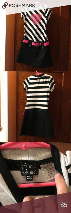 Belted Rhinestone Heart Dress Girls Size M 7/8 A black and white striped dress with a pink belt and rhinestone heart. Girls EUC in size medium 7/8. Dresses Casual