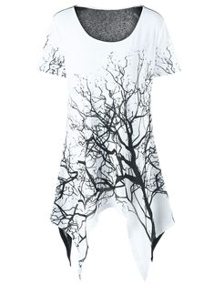 Plus Size Tree Print Asymmetrical T-Shirt - WHITE BLACK 2XL Damas 55aace7b76d
