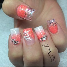 Coral and white  love love love #coralnails #nails #acrylic #white #coral