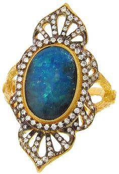 CATHY WATERMAN Boulder Opal and Diamond Arabesque Ring #opalsaustralia