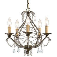 """View the Crystorama Lighting Group 4715-CL-MWP Abigail 5 Light 16"""" Wide Wrought Iron Candle Style Mini Chandelier with Clear Hand Cut Crystal at Build.com."""