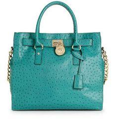 #teal #women #bag Michael Kors ostrich leather tote with 18k gold accents----yesssssssssssss LSL