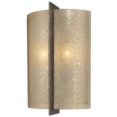 Sconce Wall Light with Beige / Cream Glass in Patina Iron Finish