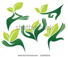 new church start green hands and natural beauty vector collection of signs and symbols - stock vector