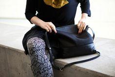 black cross body bag, leather, canvas, simple design
