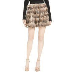 Women's Alice + Olivia Cina Genuine Feather Miniskirt ($495) ❤ liked on Polyvore featuring skirts, mini skirts, short white skirt, short mini skirts, short tiered skirt, polka dot mini skirt and feather skirt