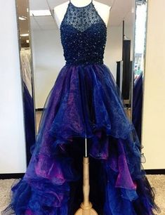 High-Low Prom Dress,Sexy Prom Dresses, Fahion Prom Gowns,Rhinestone Party Dresses,Beaded Prom Dress,Halter Prom Dress 2017