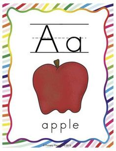 Rainbow Swirl alphabet cards in two sizes; traditional and modern alphabet styles. $
