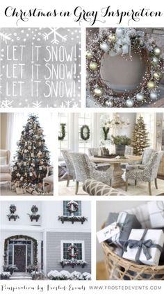 Christmas in Gray Inspiration- Holiday Ideas Winter white and gray decor, christmas tree with gray decorations, metallic silver and gray wreaths www.frostedevents.com