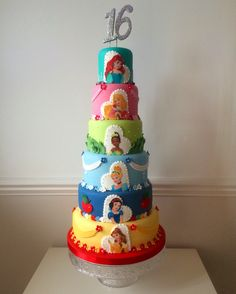 Six tier Disney Princess cake. Ariel, Aurora, Tiana, Snow White, Belle. Birthday cake, sweet 16. https://m.facebook.com/profile.php?id=115501985162602