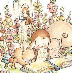 Children Art Print. GARDEN READING. Print 8X10. by LoxlyHollow