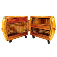 Rare Vintage Rattan and Mahogany Pumpkin Bar
