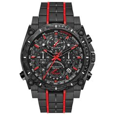 Bulova 98B313 Mens Precisionist Black Quartz Watch   #fashion #watches #bulova #mensfashion #menswatches #authentic #accessories #jewelry #menswatchesluxury #watch #watchesofinstagram #luxury #twotone #chronograph #mensoutfits #menstyle #collection #red #freeshipping #fathersday #giftsforhim Stainless Steel Watch, Stainless Steel Bracelet, Men's Accessories, Herren Chronograph, Bulova Watches, Black Quartz, Estilo Fashion, Watch Model, Red Accents
